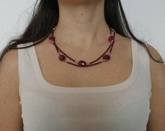 Magenta stones necklace