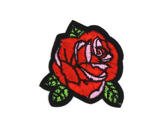 Rose Patch Sew On / Iron On DIY Patch Embroidered Applique 5.5x6cm - RP304