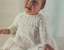 PDF Baby Girl's Dress Knitting Pattern : Babies 19, 20 and 21 inch chest . 3 ply yarn . Instant Digital Download