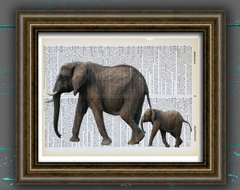 Elephant Poster elephants print elephant Art animal wall art elephant DICTIONARY print animal home Decor DORM decor, Gift decor wall decor