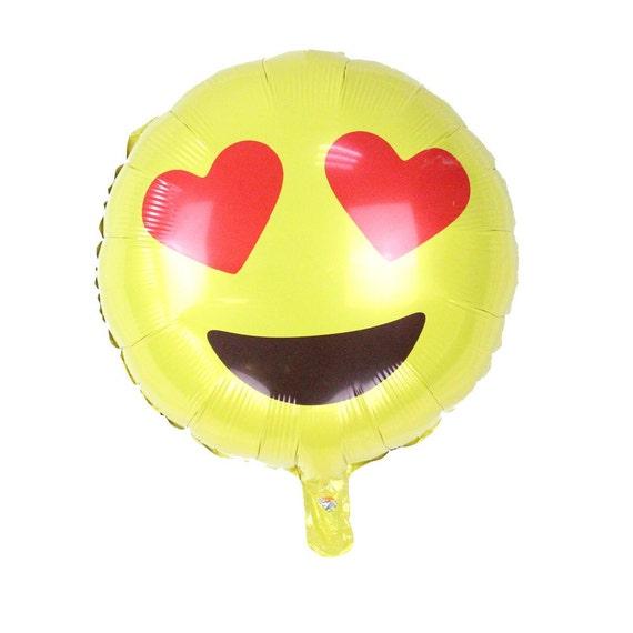 "Emoji Love Heart Eyes Balloons 18"" Emoji Mylar Balloon"