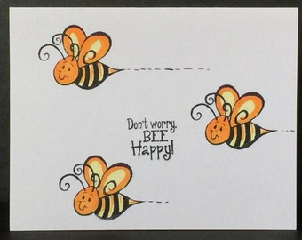 Handmade Greeting Cards-BEES Be! (Set of 5 Cards) Notcards