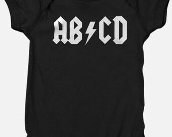 AB/CD Shirt, Baby Onesie, Toddler Shirts, Rocker Tee, Funny Onesie, Graphic Tees, Rock Baby, Baby Shower Gift, Rockstar