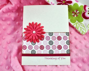 Thinking of You Card, Blank Card, All Occasion Card, Handmade Card, Flowers, Special Occasion Card, Modern card, contemporary card,