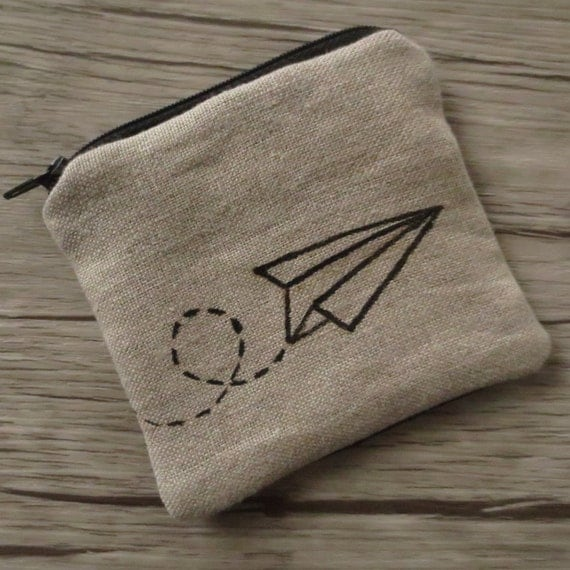 COIN PURSE PAPER airplane Linen Origami by BlackInkAndFabrics - photo#25