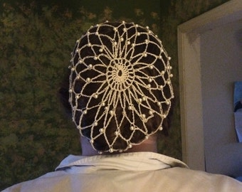 Glass pearl beaded snood hairnet renaissance, bridal, Victorian