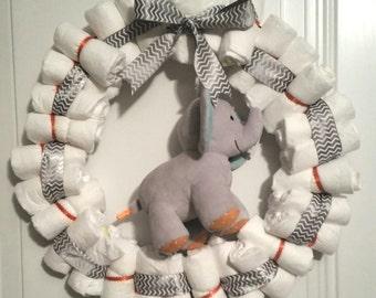 Baby shower diaper wreath baby diaper wreath baby wreath