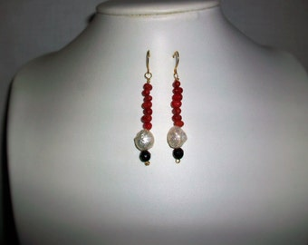 Earrings with red coral, Baroque Pearl and Onyx, 6 cm