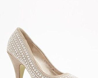 Studded peep toe Women's High Heel Shoes PBS/S9