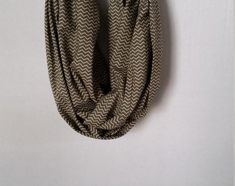 Seaweed/Moss Green and Cream Cotton Zigzag Pattern Infinity Scarf