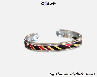 Bracelet Bangle silver and leather multicolor/Christmas gift