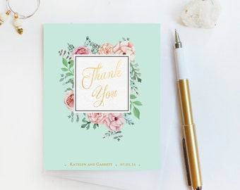 Wedding Thank You Card, Custom Photo Wedding Thank You Cards Gold Foil Wedding Thank You Cards Vintage Gold Foil Wedding Cards Katelyn3