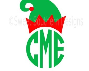 Elf hat Christmas monogram SVG instant download design for cricut or silhouette