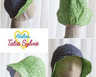 Retro hat with reversible Navy/green peas