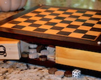 Custom Game Board Checkers and Backgammon