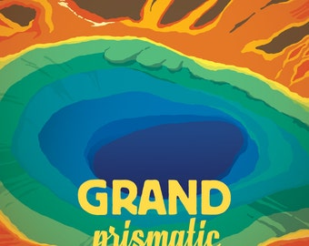 Grand Prismatic - Yellowstone National Park -  Vintage Style Travel Poster