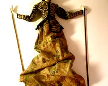 """Vintage Indonesian Puppet, Stick Puppet Carved, Wayang Golok,  Folk Art Indonesia With Stenciled Cloth - 24"""" Tall"""