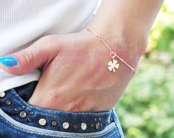 UNIQUE Chain Bracelet, Lucky Leaf Bracelet, Four Leaf Clover Bracelet, Rose Gold Bracelet, Gift Idea, BMAN36