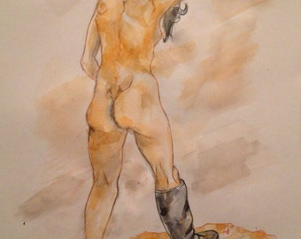 Walking nude woman
