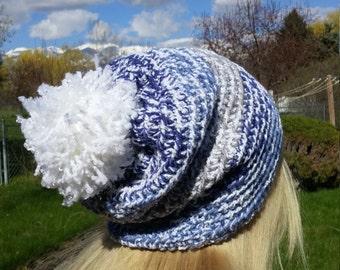 Crochet hat, slouchy beanie, blue, gray, white