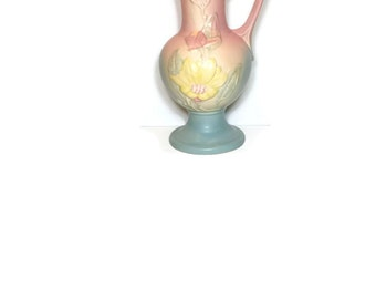 "Vintage Vase Magnolia Ewer 13.5"" Hull Pottery Vintage 1940s Pitcher Shabby & Chic Cottage Decor Tall Pink Vase"