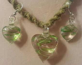 Clear heart with green pink and white swerl throughout on hemp + MATCHING EARRINGS