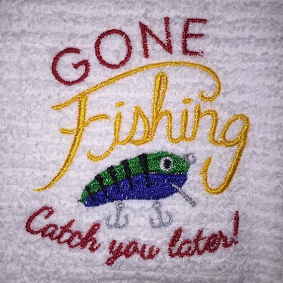 Embroidered White 100% Cotton Kitchen Bar Hand Towel GONE
