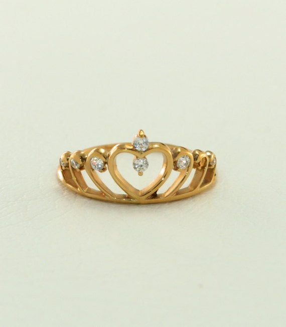 crown gold ring princess tiara ring crown by weddingringsstore