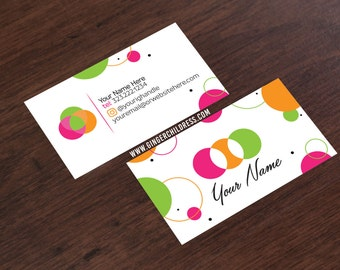 Polka Dot Business Card - Pink Business Card - Social Media Business Card - FREE Ground Shipping