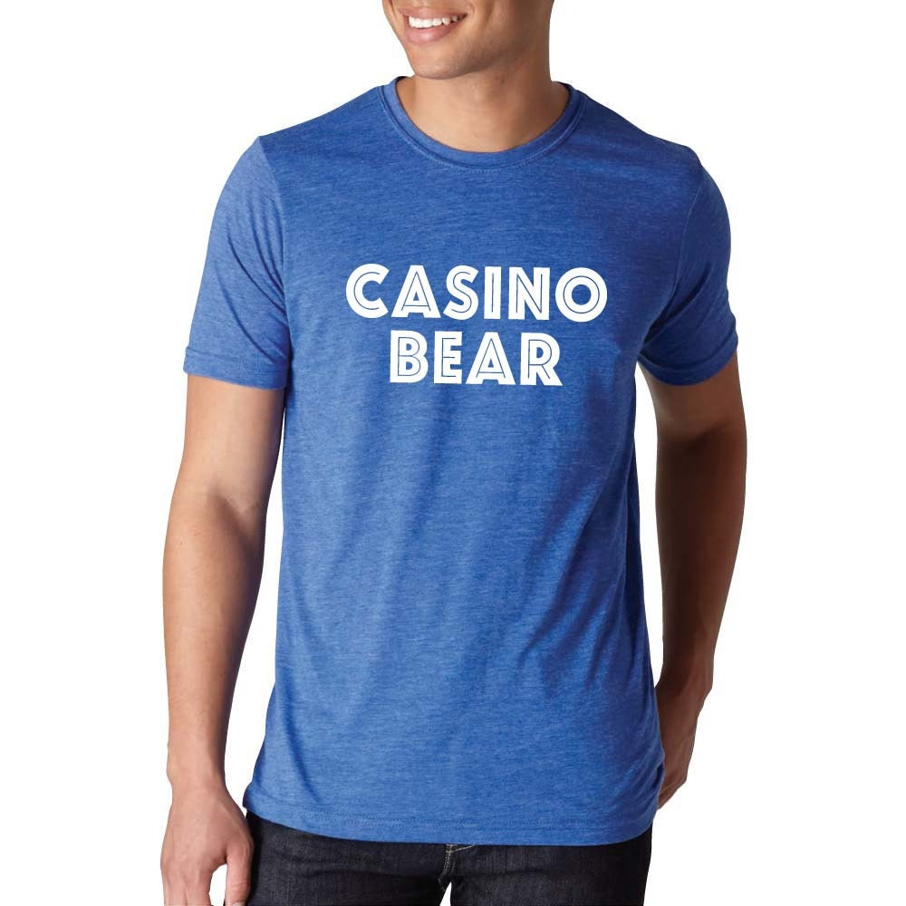 Mens tee casino bear light blue t shirt mens by Light blue t shirt mens