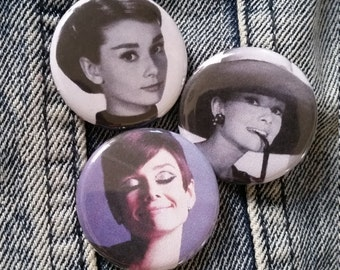 Your choice Audrey Hepburn handmade 1-1/4 inch pinback button pin pins buttons pingame badge badges