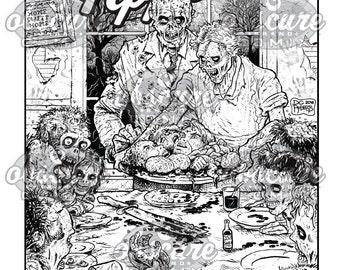 Digital Zombie Coloring Page - FAMILY FEAST - Bon Appétit!