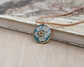 Gold necklace with flower, enamel pendant, blue necklace