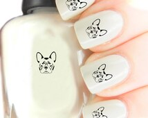 French bulldog  Nail Art Decal stickers . Nail Art Wraps Easier to use than Slide off decals for Natural Acrylic and Gel Art256