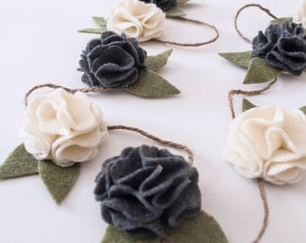 Felt Flower Garland (Felt Flower Vine) Available in Custom Colors: Garden Party Home Decor - Baby Shower or One Year Garland- Wedding Decor