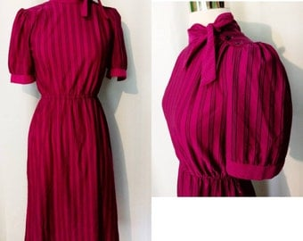 Timely Trends Fuschia Striped Day Dress with Dotted Trim