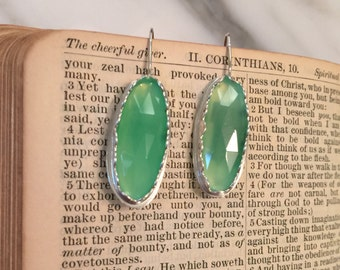 Green Chrysoprase Sterling Earrings