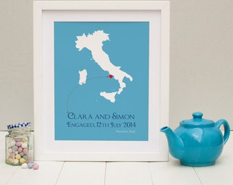 Engaged In Italy Personalised Print