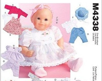 """McCall's M4338 Baby Doll Clothes (Sz 11-13"""" and Sz 14-16"""") Uncut"""