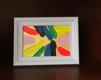 """4"""" x 6"""" Framed Colorful Abstract Original Acrylic Artwork"""
