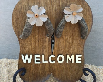 Welcom Sign, Welcome Flip Flop Sign, Flip Flop Sign, Flip Flops, Wood Sign, Home Decor, Wall Decor, Wall Hanging, Wall Decor