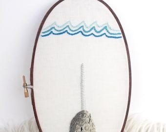 """Narwhal Ocean Embroidery Hoop Art, 5x9"""""""