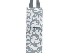 Monogrammed Gray Damask Wine Carrier-Insulated Wine Holder-Monogram Wine Carrier-Monogram Wine Holder-Personalized Wine Carrier