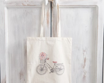 Canvas tote bag bike bicycle