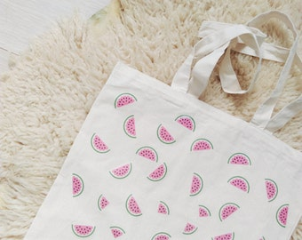 Watermelon print tote canvas bag cotton food fruit summer market bag