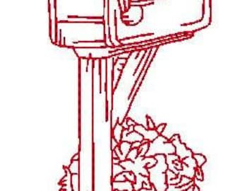 Redwork Mailboxes  ( 10 Machine Embroidery Designs from ATW )