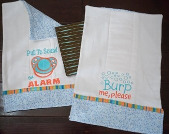 Fully Lined Humorous Gender Neutral Baby Burp Cloth Set