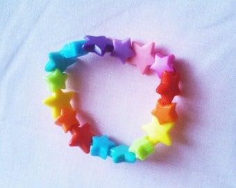 CLEARANCE Kawaii Decora Rainbow Stars Bracelet