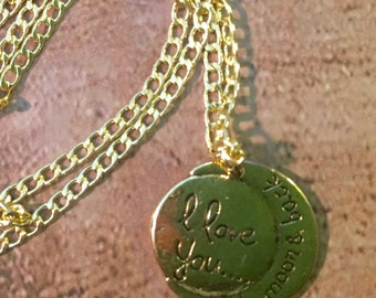 I Love You to the Moon Gold Pendent Necklace