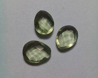 3 Pieces Green Amethyst Facetade Briolette